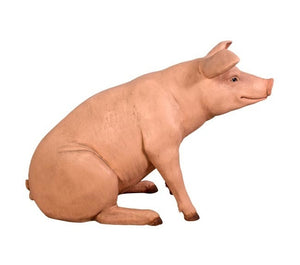 Pig Sitting Baby  Farm Prop Life Size Decor Resin Statue - LM Treasures Prop Rentals