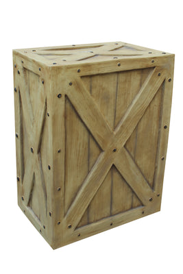 Crate Wood Light Brown Big Jungle Display Prop Decor Resin Statue - LM Prop Rentals