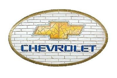 Mosaic Sign Chevrolet Emblem Look Alike Wall Decor Resin Statue - LM Treasures Prop Rentals