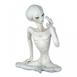 Alien Encounter Sitting With Cigar Space Statue Prop Decor Life Size Resin - LM Prop Rentals