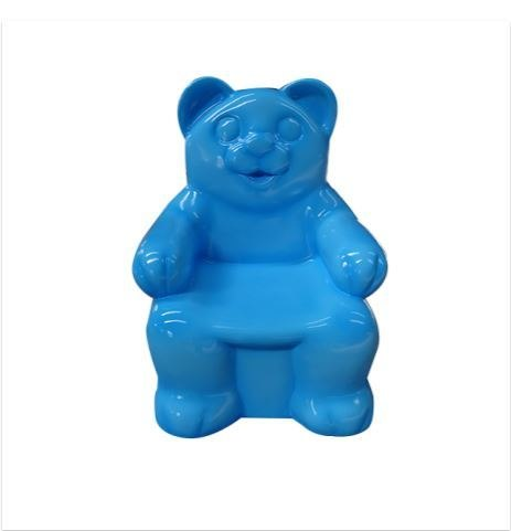 Gummy Bear Chair Blue Candy Small Over sized Display Resin Prop Decor Statue