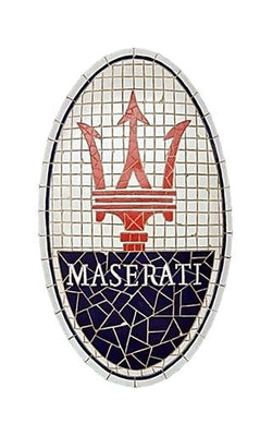 Mosaic Sign Maserati Emblem Look Alike Wall Decor Resin Statue - LM Prop Rentals
