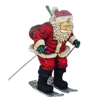 Santa Claus Christmas Skiing Small Christmas Statue - LM Treasures Prop Rentals