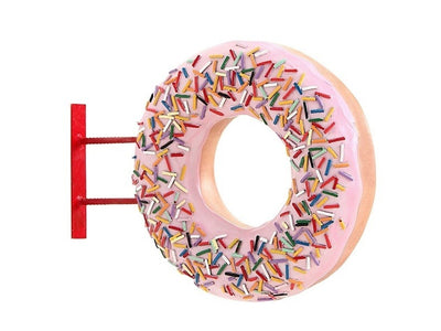 Donut Pink Hanging Restaurant Prop Resin Decor Statue - LM Treasures Prop Rentals