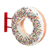 Donut White Hanging Restaurant Prop Resin Decor Statue - LM Prop Rentals