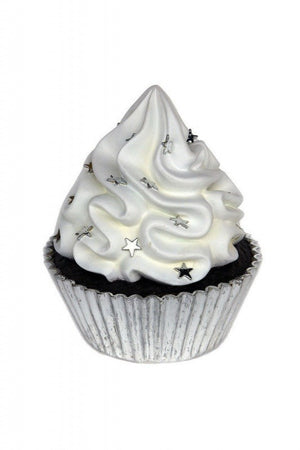 Cupcake Large Chocolate Silver Over Sized Prop D̩cor Resin Statue - LM Prop Rentals