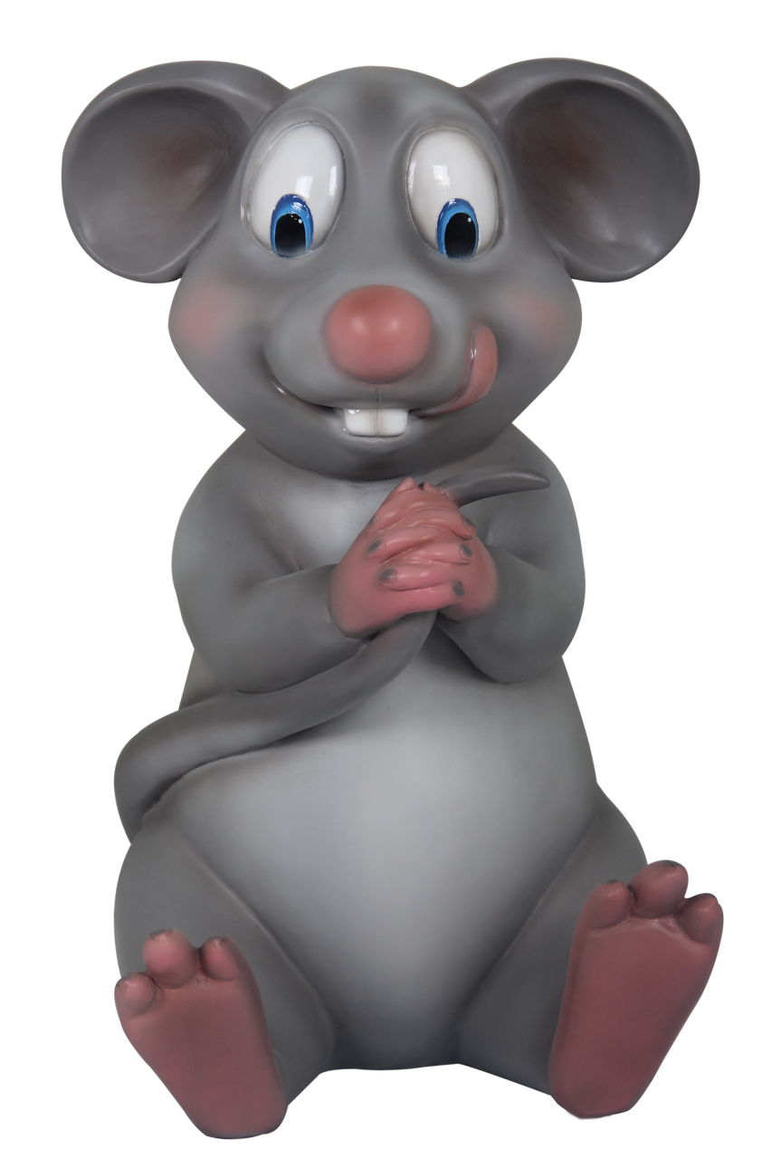 Comic Mouse Holding Tail Resin Statue Movie Prop Decor - LM Treasures Prop Rentals