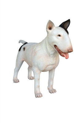 Dog Bull Terrier White Mouth Open Animal Prop Life Size D̩ecor  Resin Statue - LM Prop Rentals