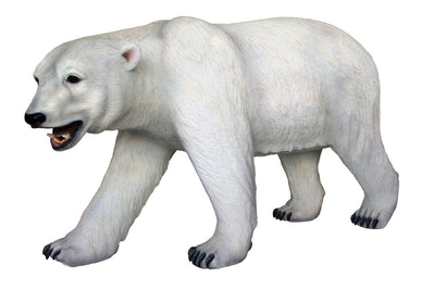 Bear Polar Walking Mouth Open Animal Prop Life Size Decor Resin Statue - LM Prop Rentals