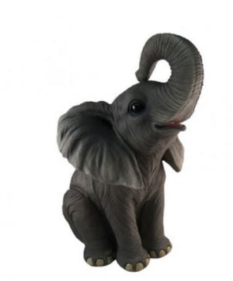 Elephant Baby Sitting Table Top Jungle Animal Resin Statue - LM Treasures Prop Rentals