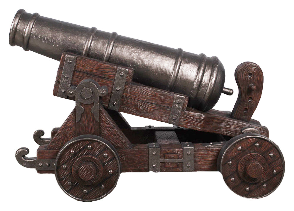 Pirate Cannon With Base # 2 Life Size Statue Resin Decor - LM Treasures Prop Rentals