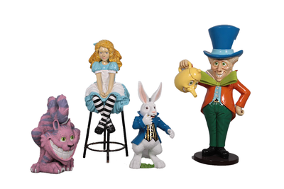 Alice in Wonderland Set of 4 Cartoon Resin Decor Statue