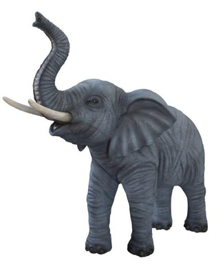 Baby Standing Elephant Trunk Up Life Size Statue