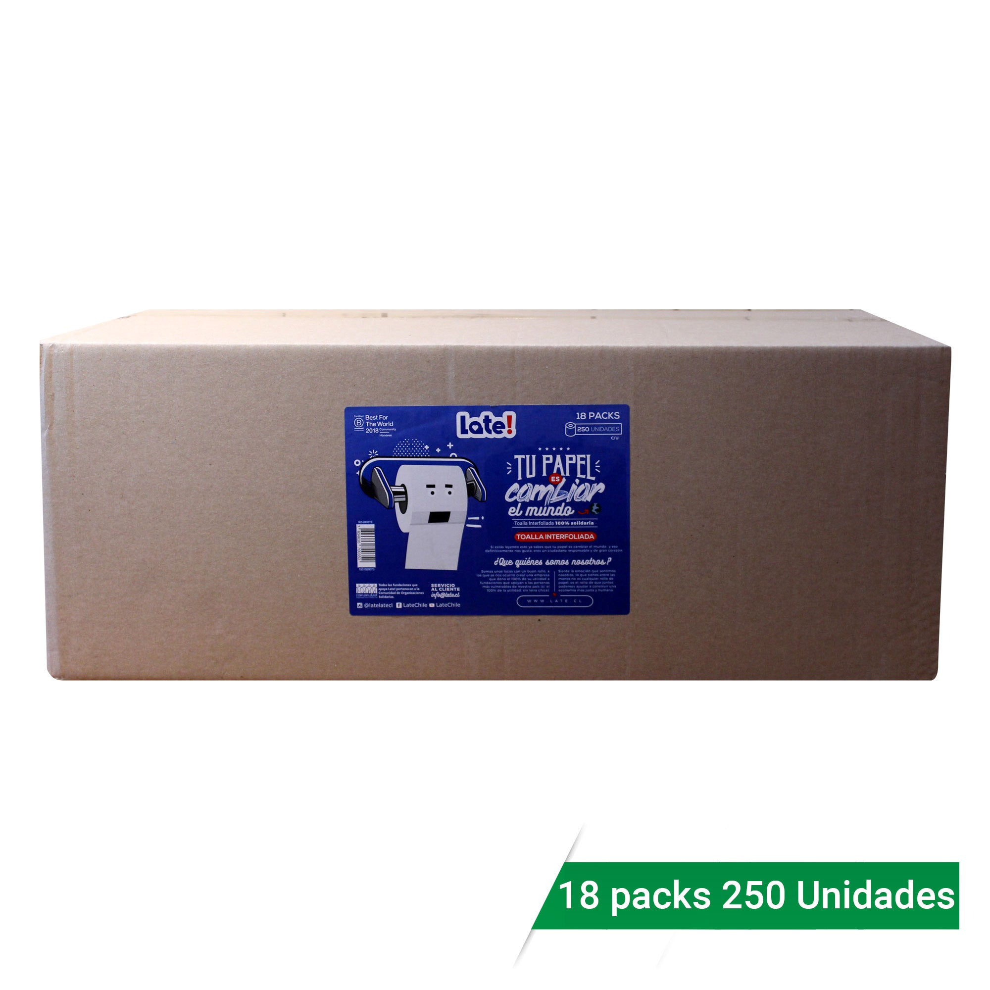 Toalla Interfoliada para uso Industrial, 18 packs de 250 unidades
