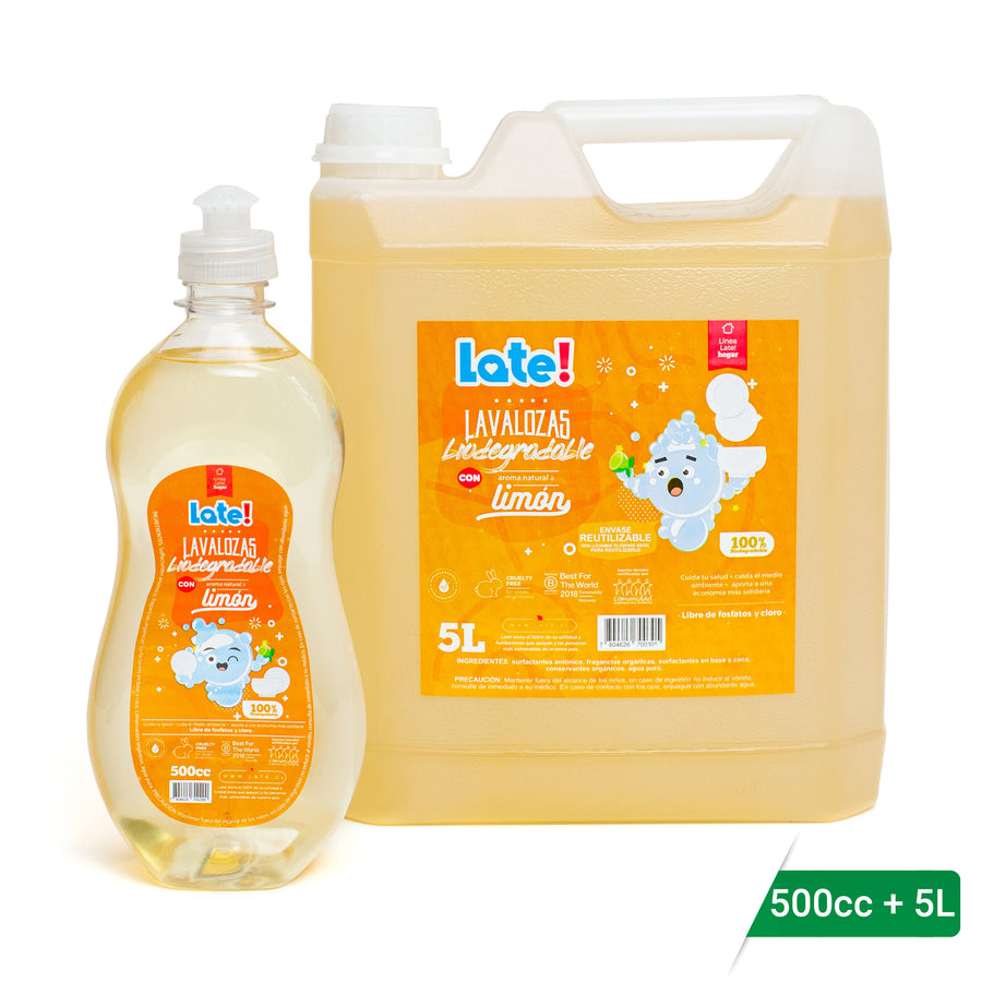 Pack Inicial Lavalozas Biodegradable 500 cc + 5 Litros