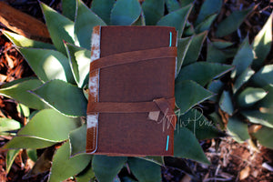 Hair on hide leather journal with lined notebook