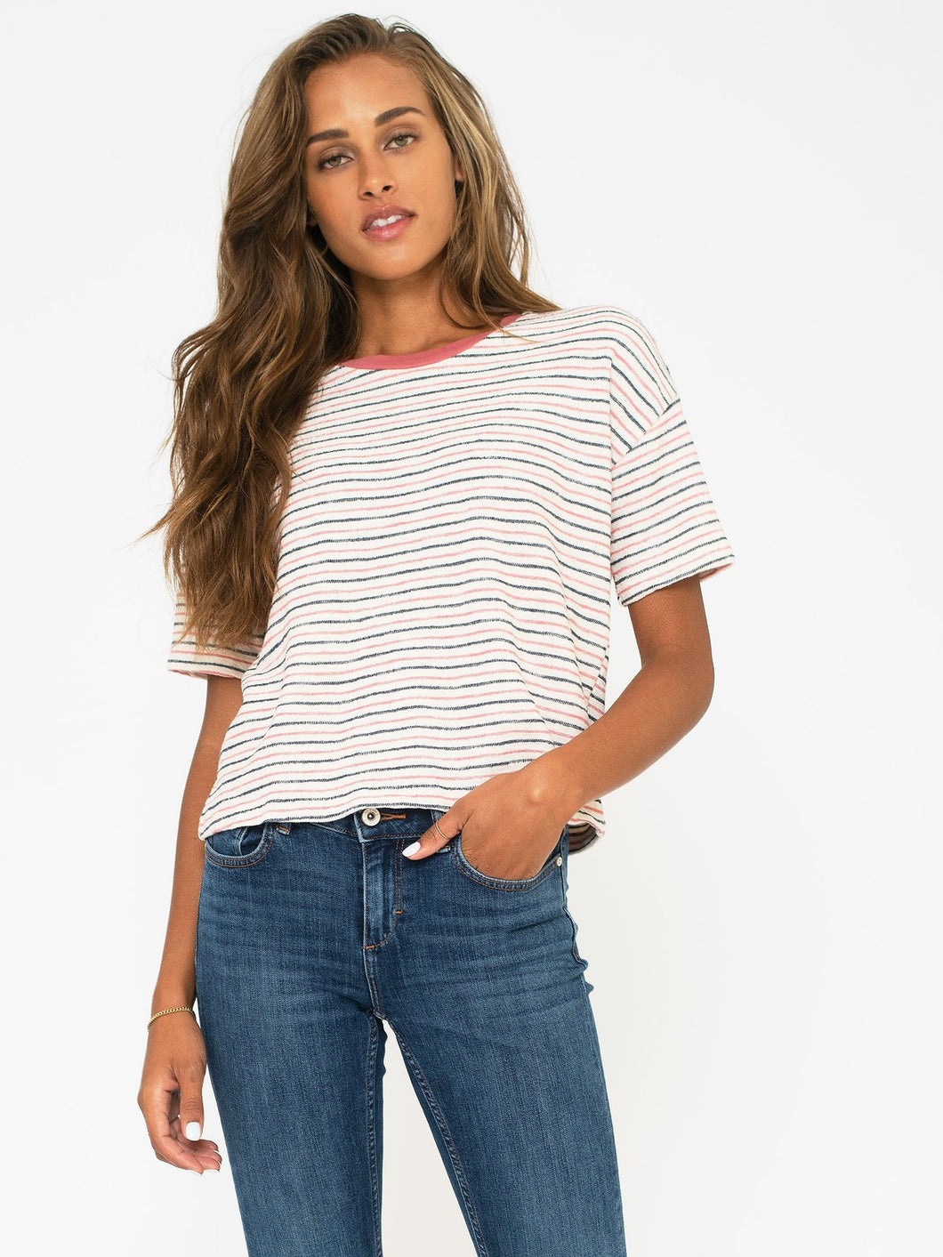 Monterey Stripe Boxy Crew - civvies - indianapolis clothing boutique