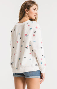 Distressed Star Pullover - civvies - indianapolis clothing boutique
