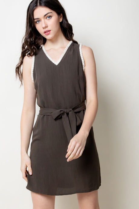 V-Neck Belted Dress - civvies - indianapolis clothing boutique