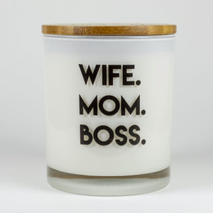 Wife. Mom. Boss. Soy Candle - civvies - indianapolis clothing boutique