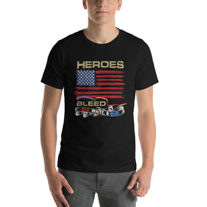 Men's Premium Short-Sleeve T-Shirt (HEROES BLEED: Red, White, & Blue) Front ONLY.... - ModifyPrint
