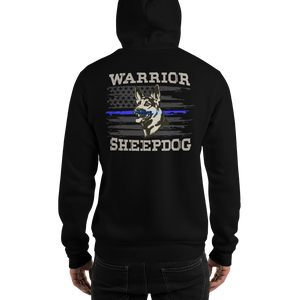 Men's Premium Hoodie (Thin Blue Line Flag on Front and Warrior Sheepdog on Back) - ModifyPrint