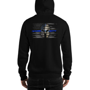 Men's Premium Hoodie (Thin Blue Line Flag on Front and Warrior Helmet) - ModifyPrint