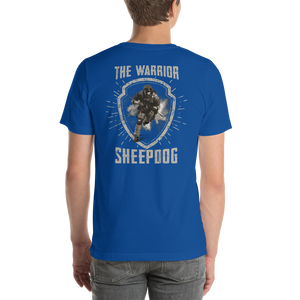 Men's Premium Short-Sleeve T-Shirt (Left Front Flag & Warrior Sheepdog on Back) - Modify Print