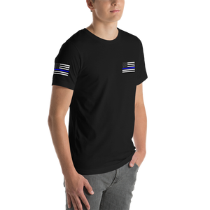Men's Premium Short-Sleeve T-Shirt (Thin Blue Line Flag on Left Front Chest & Right Sleeve) - Modify Print