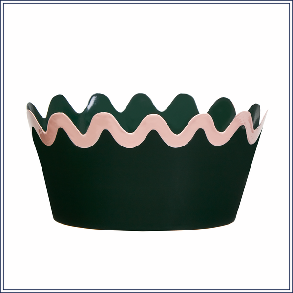 LARGE SCALLOP TOLE PLANTER IN GREEN, LARGE
