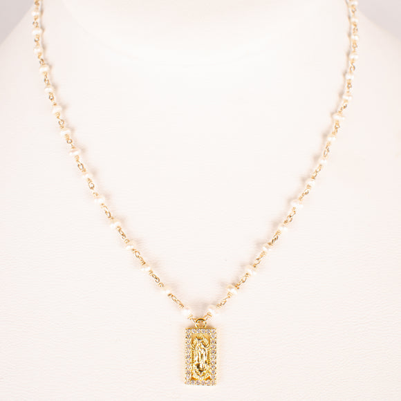 Mother Mary Rosary Pearl Necklace