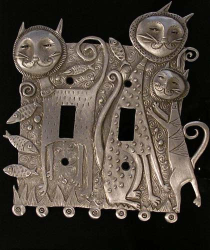 Cat Family, double switchplate cover, Leandra Drumm (#88)