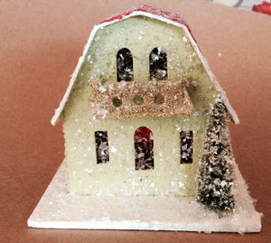 Mini House/Chalet with snow glitter and Bottle Brush Tree! by Cody Foster