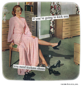 "Anne Taintor Mini Tray ""if you're going to kick ass, you need kickass shoes"""