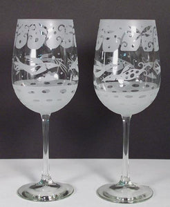 "Leandra Drumm Wine Glasses, set of 2, ""Birds"""