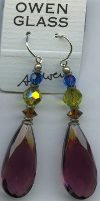 Owen Glass Earrings, Cabaret #16