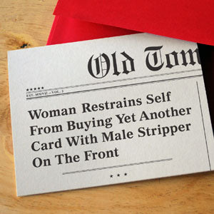 """Woman Restrains Self"" Birthday Card"