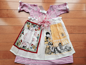 Toni Tierney Dress with Apron, pom-poms and flower/ 9 months