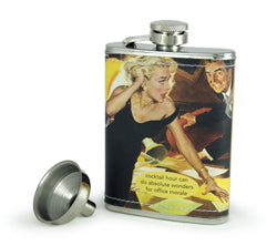 "Anne Taintor Flask ""cocktail hour can do absolute wonders for office morale"""