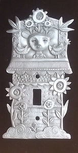 """Flower Tower"" switchplate cover by Leandra Drumm (#140)"