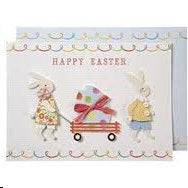 """Happy Easter"" Greeting Card by Meri Meri...2 happy bunnies"