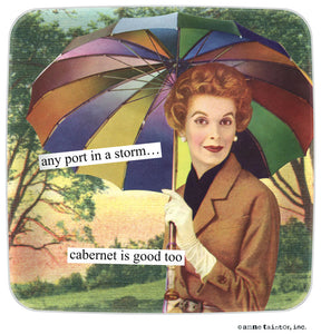 "Anne Taintor Mini Tray ""any port in a storm… cabernet is good too"""