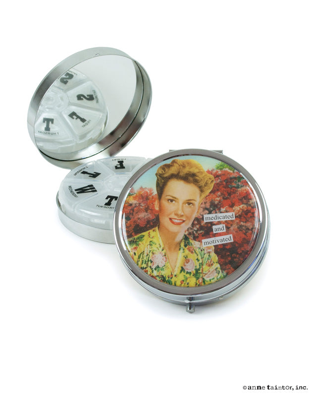 Anne Taintor Pill Compact ~ Medicated & Motivated