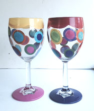 Hand-Painted Wine Glasses, Set of 2!