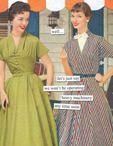 """we won't be operating heavy machinery"" Anne Taintor Birthday card"