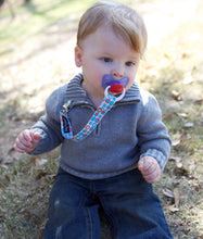 Pacifier Clip! (blue/black/red stripes)