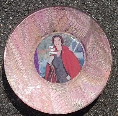 Anne Taintor image decoupaged onto glass plate!