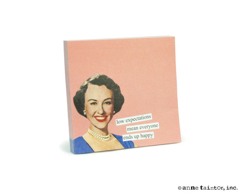 Anne Taintor Sticky Notes: low expectations