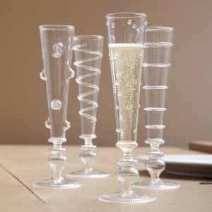 Set of 4 Hand-blown Champagne Glasses