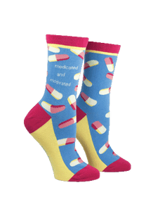 Anne Taintor Crew Socks ~ medicated and motivated